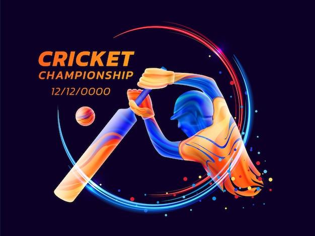 Векторная иллюстрация абстрактного игрока с битой, играющего в крикет из цветных жидких брызг