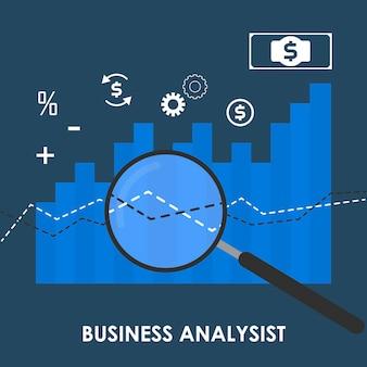 ビジネス分析の概念のベクトルの抽象的なイラスト