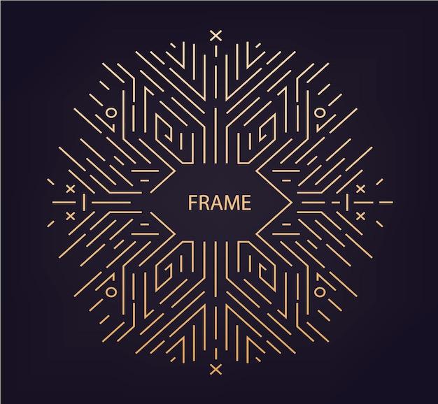 Вектор абстрактный линейный геометрический фон, ретро кадр, шаблон дизайна. декоративный бордюр для поздравительной открытки, упаковки, приглашения в орнаментальном стиле, роскошный винтаж