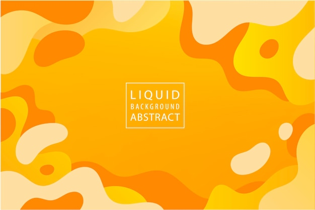 Vector abstract liquid dynamic background banner design orange yellow elements shapes