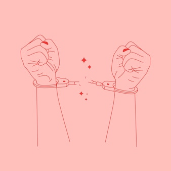 Вектор абстрактный шаблон дизайна логотипа в модном линейном стиле. руки разрывают кандалы.