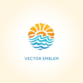 Vector abstract logo design template - sun and sea