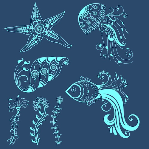 Vector abstract marine creatures in indian mehndi style. Abstract henna floral vector illustration. Design element.