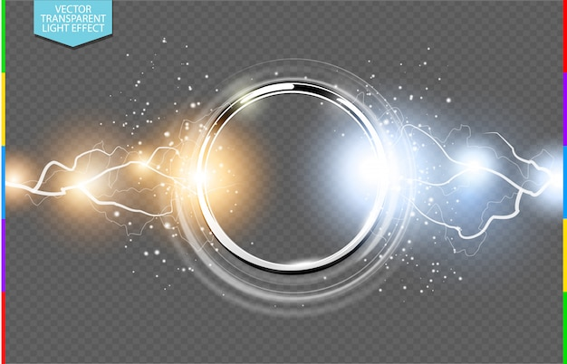 Vector abstract metal ring transparent background.