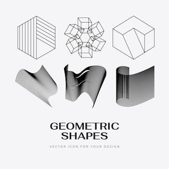 트렌디한 선형 스타일의 벡터 추상 현대 설정된 기하학적 아이콘 디자인