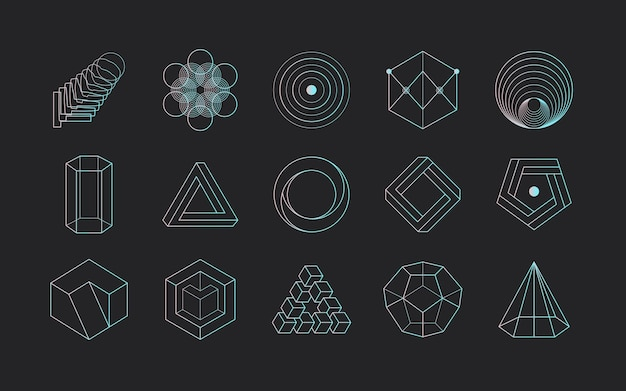 Vector abstract modern set geometric icon design in trendy linear style
