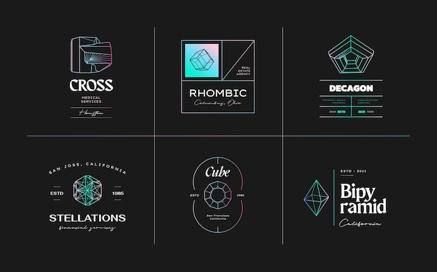 Vector abstract modern set geometric icon design in trendy lstyle