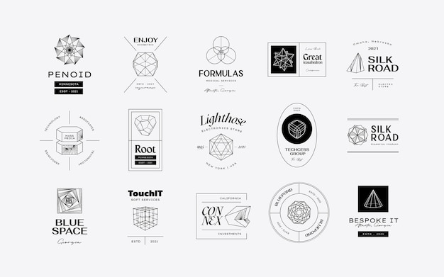 Vector abstract modern set geometric icon design in trendy style