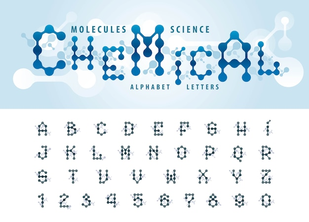 Vector of abstract molecule cell alphabet letters and numbers