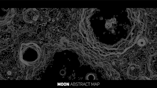 Vector abstract moon relief map