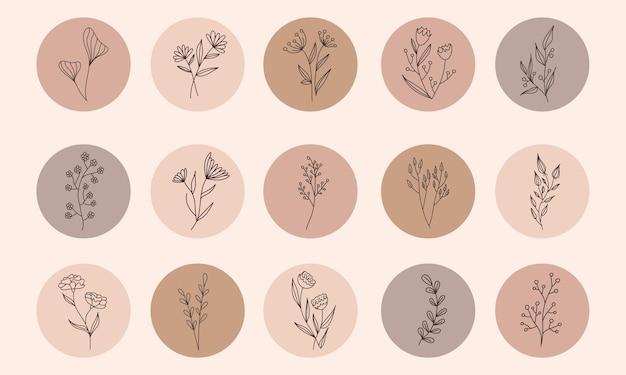 벡터 추상 유기 이야기 표지 템플릿을 설정합니다. 지구 톤 색상의 식물 그림입니다. 벡터 추상 유기 이야기 표지 템플릿을 설정합니다. 지구 톤 색상의 식물 그림입니다.