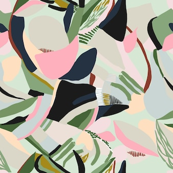 Vector abstract paint drawing contemporary modern shape illustration seamless repeat pattern