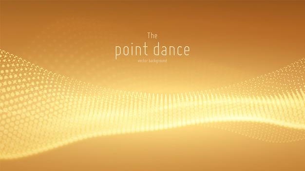 Векторная волна абстрактных частиц, массив точек с малой глубиной резкости.