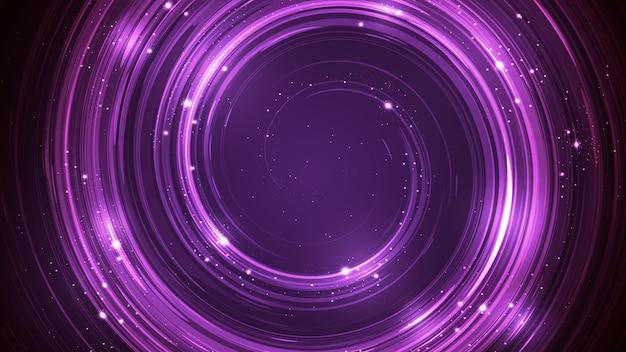 소용돌이 모양과 가벼운 반짝임이 있는 자유 소용돌이 모양이 있는 벡터 추상 보라색 배경.