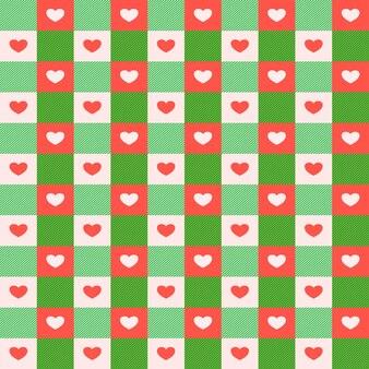 Вектор абстрактный бесшовные проверенного образца с сердечками на красный и зеленый цвет