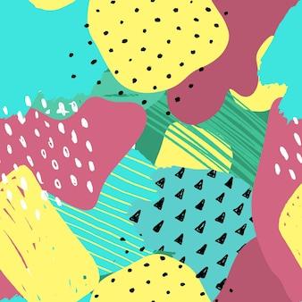 벡터 추상 원활한 패턴 다채로운 손으로 그린 요소 종이 콜라주