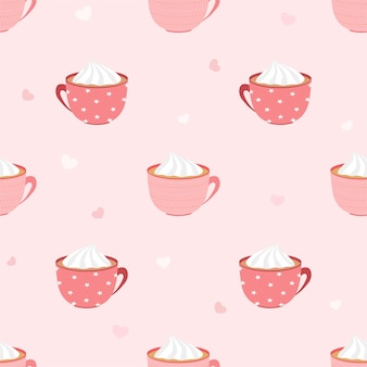 Vector abstract seamless pattern of hot coffee or chocolate cup with whipping cream and mini heart