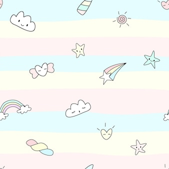 Vector  abstract seamless pattern of unicorn concept cute character of cloud sky star rainbow