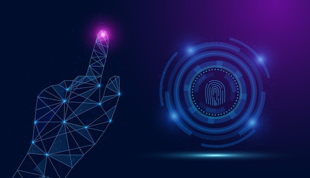 Vector abstract security system concept with fingerprint on technology background