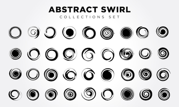 Vector abstract spiral elements set