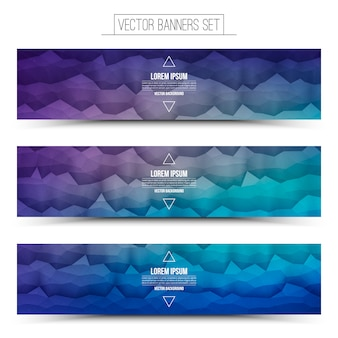 Vector abstract technology violet blue web banners set