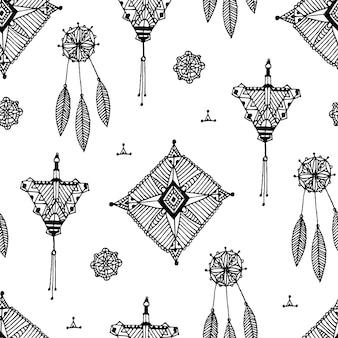 벡터 추상 빈티지 손으로 그린 패턴, 원활한 boho 흑백 배경. 레이스 장식 요소, 드림캐쳐