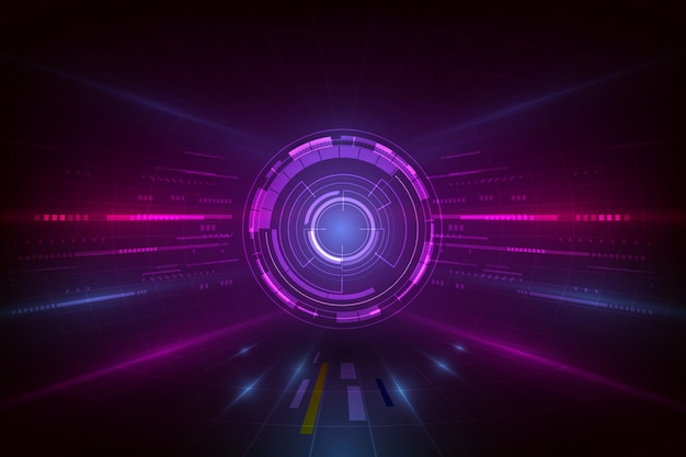 Vector abstract visualization background, digital futuristic technology computer graphic