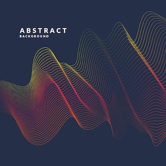 色の動的波、線、粒子のベクトル抽象。