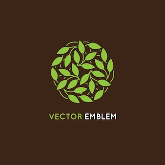 Vector abstrat logo design template - circle made with green leaves