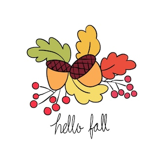 Vector acorn,leave,berry and word hello fall