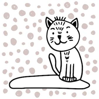 Очаровательная кошка вектор в модном скандинавском стиле. смешно, мило, обниматься, рисованной иллюстрации для плаката, баннера, печати, украшения детской игровой комнаты или поздравительной открытки.