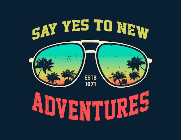 Vector adventure graphic with glasses.