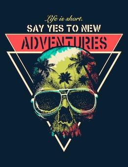 Vector adventure graphic with a scary skull