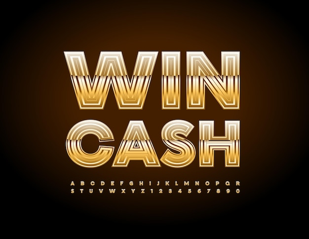 Vector advertising poster win cash premium gold alphabet letters and numbers set chic glossy font