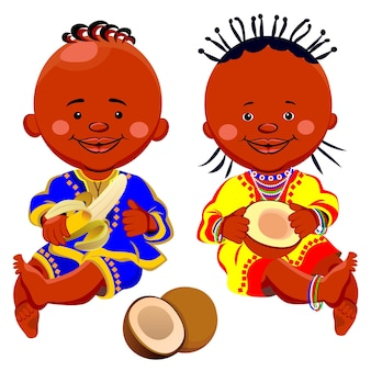 Vector african black baby girl and boy in national costumes