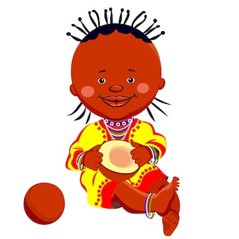 Vector african black girl in national costume and sits holding a coconut