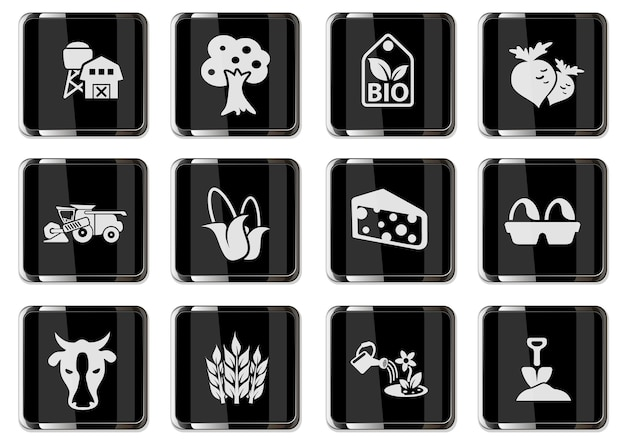 黒のクロムボタンで農業のピクトグラムをベクトルします。ユーザーインターフェイスデザイン用に設定されたアイコン