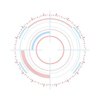 광학 대상 미래 스타일의 흰색 벡터 일러스트 레이 션에 고립 된 벡터 목표 개념