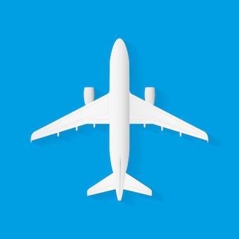 파란색 배경, 평면 평면도에 벡터 비행기입니다. 벡터 일러스트 레이 션.