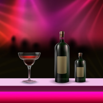 Vector alcoholic cocktail and two bottles on bar counter with bright pink backlight on blur night club background