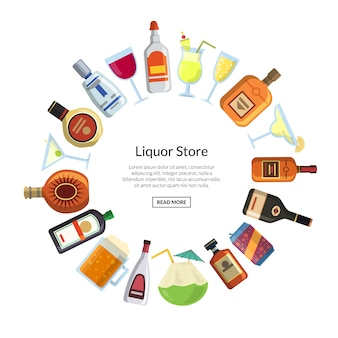 Vector alcoholic drinks in glasses and bottles in circle form with place for text in center illustration