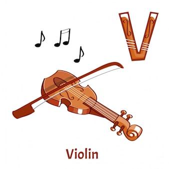 Векторный алфавит буква v. скрипка Premium векторы
