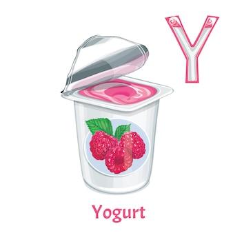 Vector alphabet letter y. yogurt