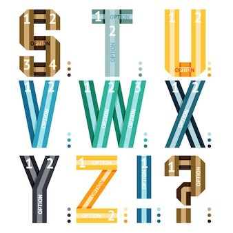 Vector alphabet letters of ribbons and lines with number options for use in infographics