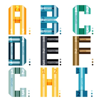 인포 그래픽으로 사용하기위한 줄무늬와 숫자 옵션이있는 벡터 알파벳 문자