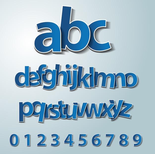 ベクトルのアルファベットの紙のステッカーセット