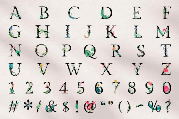 Vector alphabet sign number set floral typography