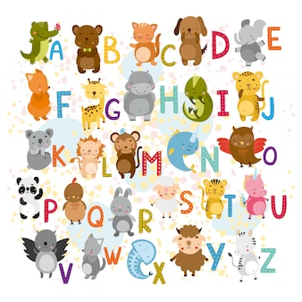 Vector alphabet with cute animals