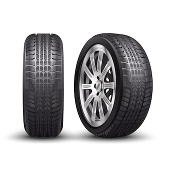 Vector aluminum racing car tire or auto tyres in front and side view.