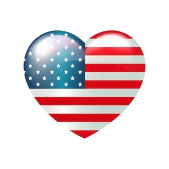 미국 독립 기념일의 7월 4일 심장에 있는 벡터 미국 국기 미국 사랑 상징